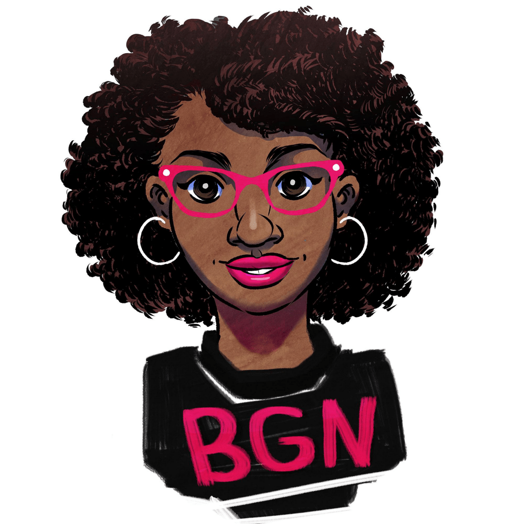 """Illustrated avatar of the founder of Black Girl Nerds, a young black woman with medium length hair wearing pink eyeglasses and a """"BGN"""" shirt."""