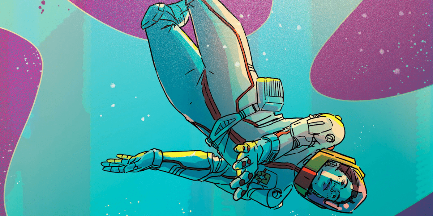 Art by Liana Kangas, illustration of an astronaut floating in a fantasy-style space.
