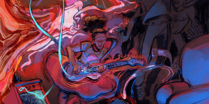 Illustration by OliveOilCorp aka Olive Stephens of a person playing a guitar.