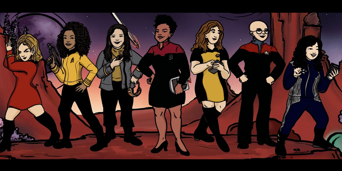 Women At Warp - illustration of the hosts of the podcast Women At Warp, Star Trek style.