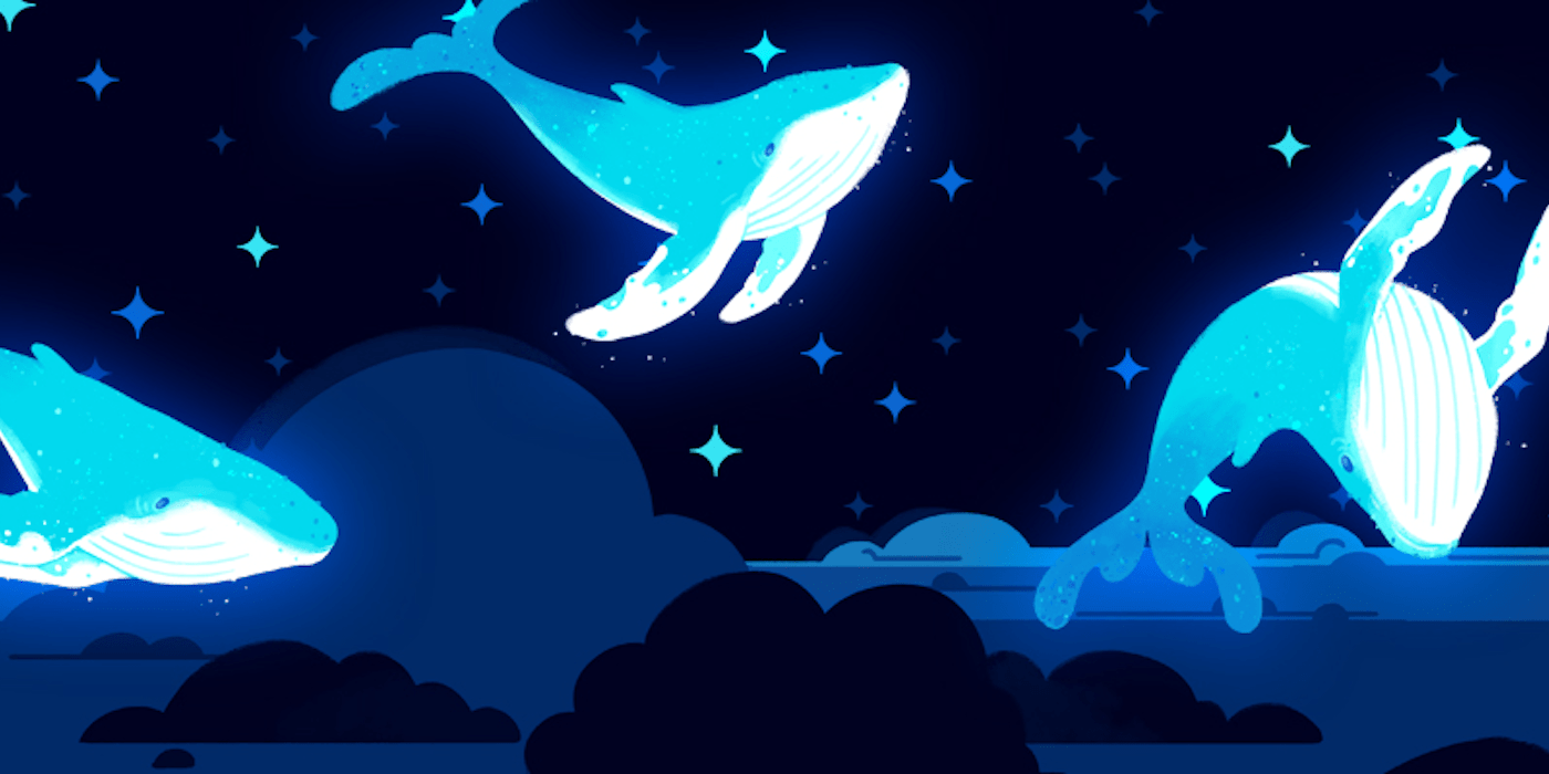 Fantasy illustration of whales leaping out of the ocean at nite by Maya Kern.
