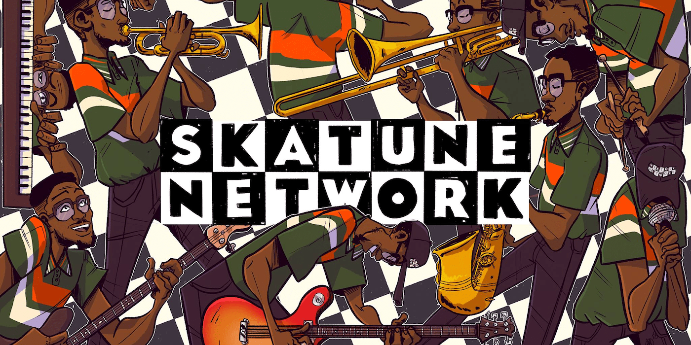 """Ska Tune Network header illustration, a parody of the Cartoon Network title treatment with the letters spelling """"Ska Tune Network"""" layed out in altnerating black and white tiles, musicians in a mosaic pattern in the background."""