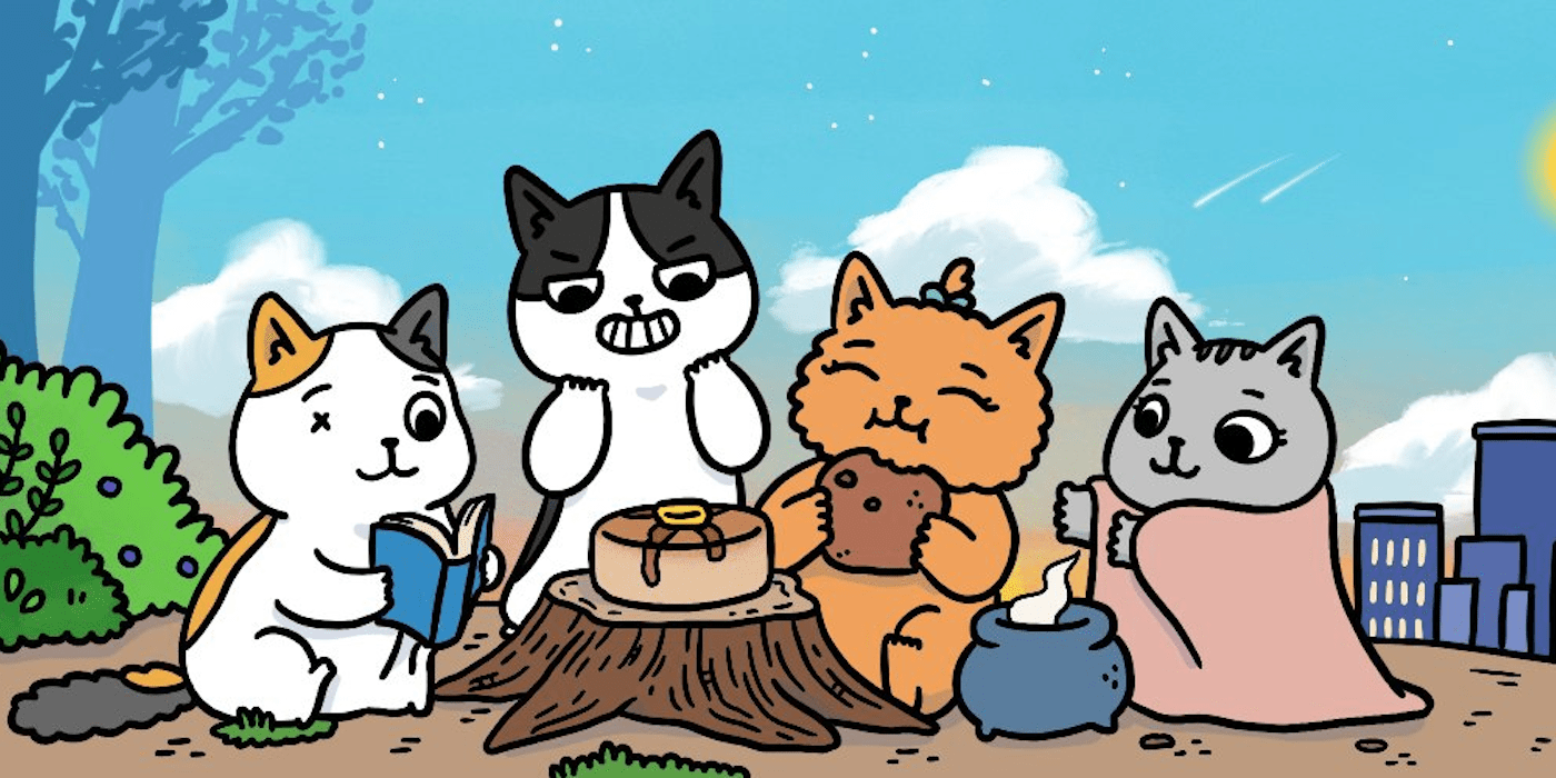Illustration by Susie Yi of four comic-style cats sitting around a campfire enjoying hot cocoa, on a hilltop.
