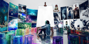 """Illustration by Yuumei, of a young artist seated on the floor of her studio, surrounded by her paintings and paint buckets labeled things like """"Hope,"""" """"Doubt,"""" """"Fear,"""" """"Pain,"""" etc."""