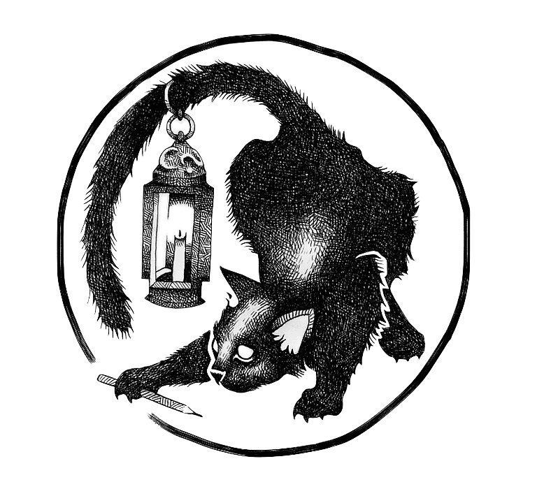 Black and white illustration of a black cat in a crouching stance with a lantern suspended from its tail.