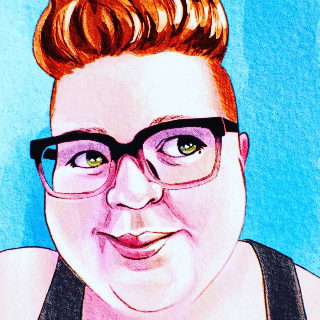 Self portrait of Ruby Ball—a round-faced young-looking white woman with red hair cropped very tightly on the sides and a couple of inches long on top, wearing square black-rimmed glasses.