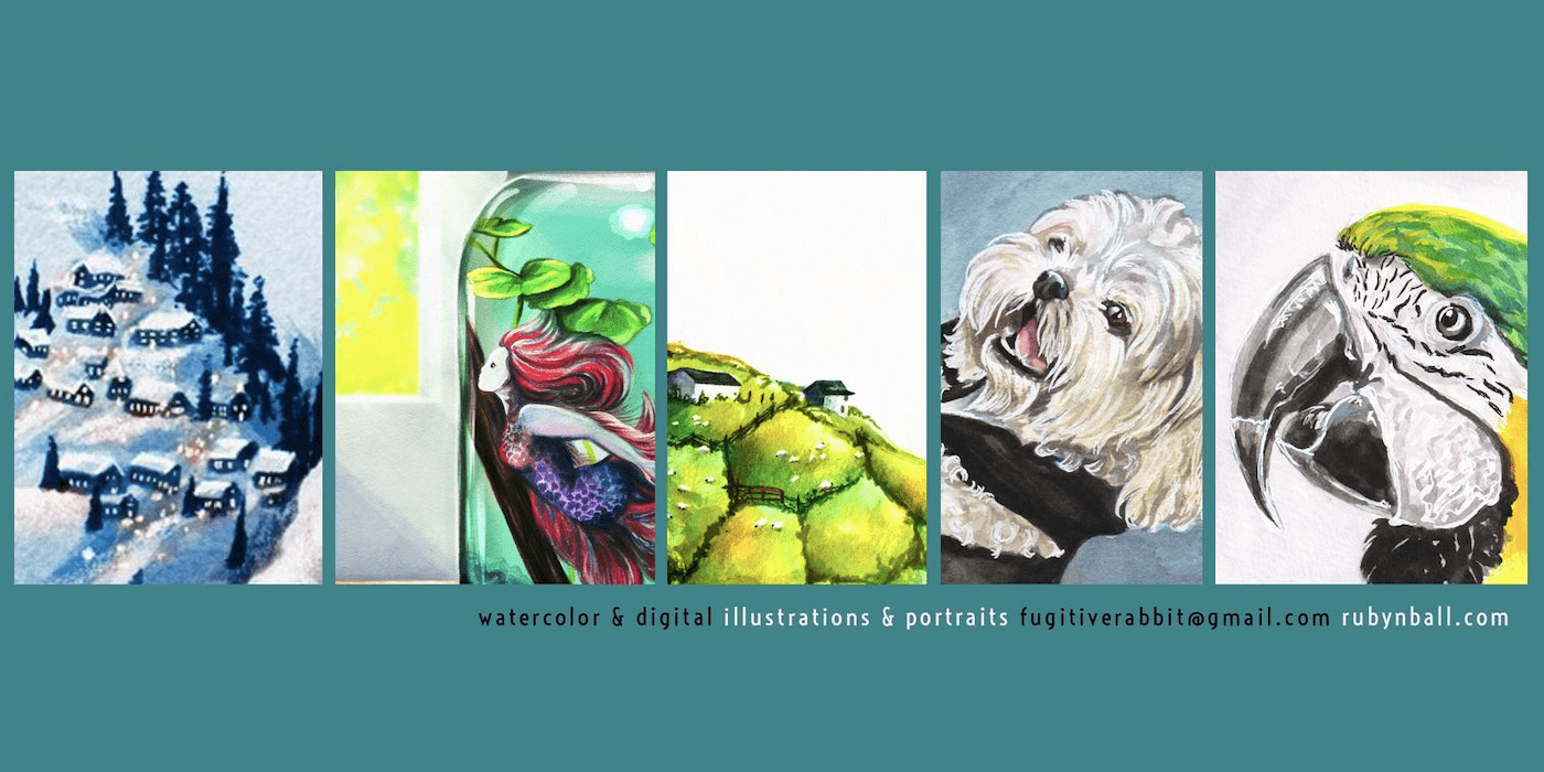 Artist Fugitive Rabbit aka Ruby Ball samples of artwork including a parrot, a fluffy white dog, a farmland landscape, a mermaid in a jar of water, and a snowy mountain village.