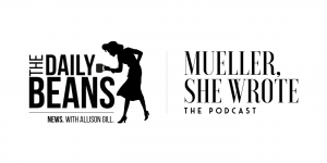 Logo for the Daily Beans and Mueller She Wrote podcasts, featuring the silhouette of a '40's-era woman looking through a magnifying glass towards the ground.