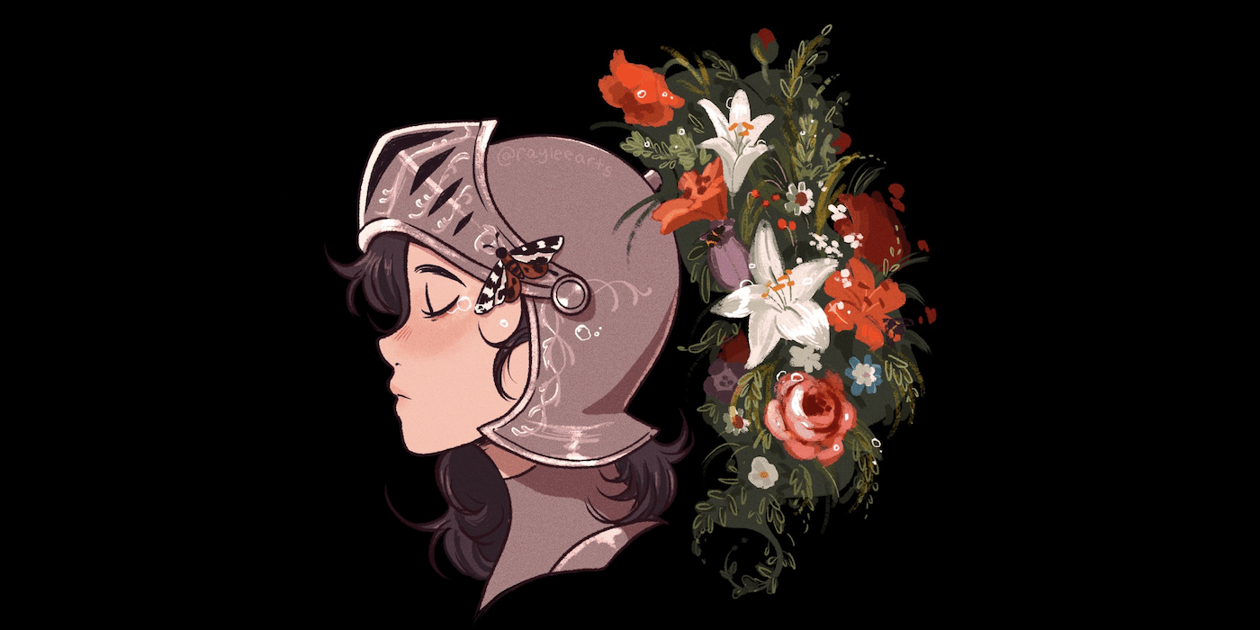 Illustration by RayleeArts of a young woman, in profile, wearing a Roman soldier-style helmet, with the visor up and garland of flowers where the helmet's crest would usually be.