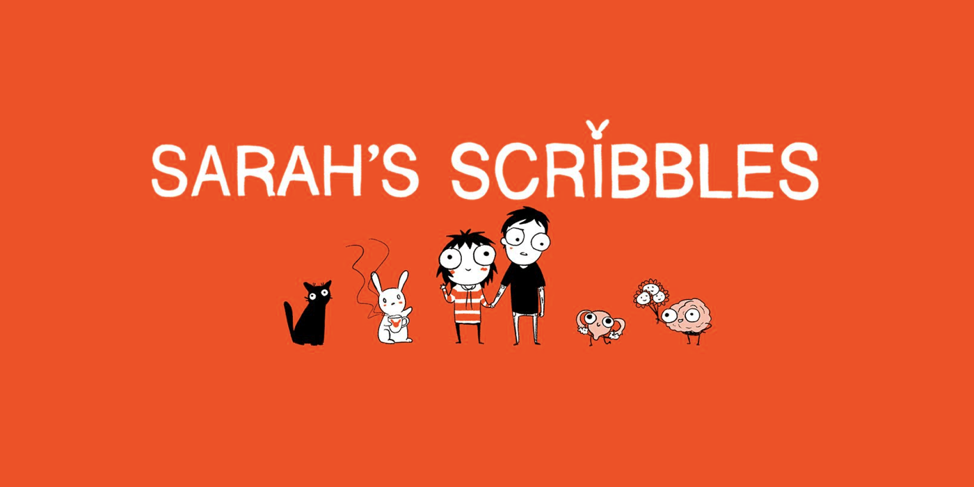 Illustration by Sarah Andersen titled Sarah's Scribbles depicting Sarah and a man holding hands, flanked by a cat, a bunny, a uterus and ovaries, and a brain (cartoon-style).
