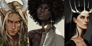 Illustrations by ZARA H, a white blond long-haired man with curved horns, a black lady vampire, and a white lady with long dark hair wearing a crown of spikes.
