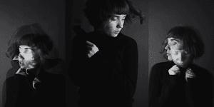Black and white photo tryptich of music artist Cassandra Valentine