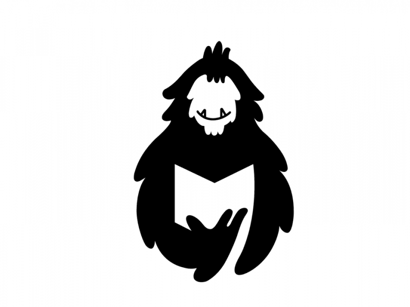 Black and white illustration of a yeti reading a comic book